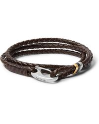 Paul Smith Woven Leather And Silver And Gold-tone Wrap Bracelet - Brown