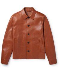 MR P. Leather Blouson Jacket - Brown