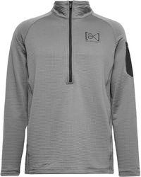Burton [ak] Helium Slim-fit Polartec Power Grid Fleece Hooded Half-zip Ski Mid-layer - Grey