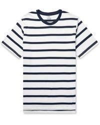 NN07 Aspen Striped Cotton And Modal-blend Jersey T-shirt - Blue