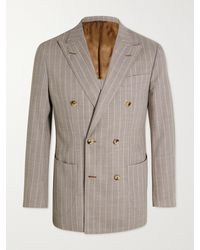 Thom Sweeney Unstructured Double-breasted Pinstriped Wool Blazer - Brown