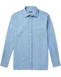 Rubinacci Cotton-chambray Shirt - Blue