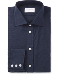 Kingsman + Turnbull & Asser Navy Slim-fit Cotton And Cashmere-blend Twill Shirt - Blue