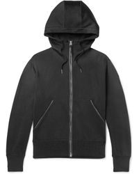Tom Ford Leather-trimmed Jersey Zip-up Hoodie - Black