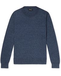 A.P.C. Hiroshi Mélange Cotton, Wool And Silk-blend Jumper - Blue