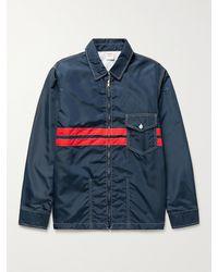 Birdwell Striped Nylon Jacket - Blue