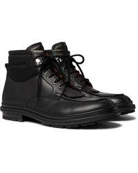 Ermenegildo Zegna Felt-panelled Leather Boots - Black