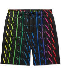 Valentino Logo-print Loopback Cotton-blend Jersey Drawstring Bermuda Shorts - Multicolor