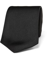 Turnbull & Asser 8cm Ribbed Silk Tie - Black