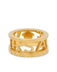 Versace Logo Gold-tone Ring - Metallic
