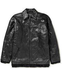 Balenciaga Oversized Padded Crinkled-leather Jacket - Black