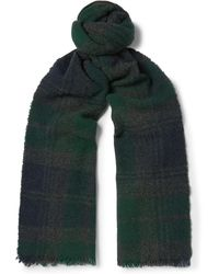 Begg & Co - Beaufort Fringed Checked Lambswool And Cashmere-blend Scarf - Lyst