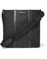 Ermenegildo Zegna - Pelle Tessuta Leather And Nylon Messenger Bag - Lyst