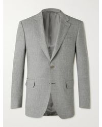 Canali Linen And Wool-blend Suit Jacket - Grey