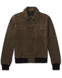 Club Monaco - Suede Trucker Jacket - Lyst