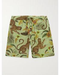 Desmond & Dempsey Printed Linen Pyjama Shorts - Green