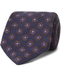 Anderson & Sheppard 9cm Floral-print Wool And Silk-blend Tie - Blue