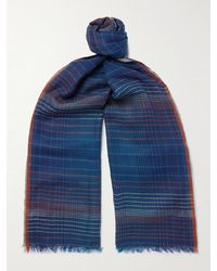 Paul Smith Fringed Checked Wool Scarf - Blue