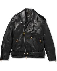 Dunhill Duke Oversized Belted Leather Biker Jacket - Black
