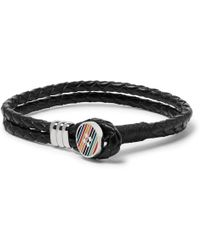 Paul Smith - Woven Leather And Enamelled Silver-tone Bracelet - Lyst