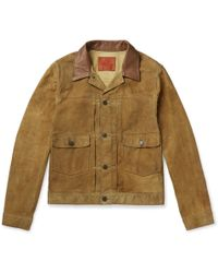 RRL - Leather-trimmed Suede Jacket - Lyst
