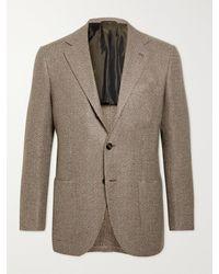 Kiton Unstructured Checked Wool Blazer - Brown