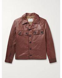 Kingsman Burnished-leather Jacket - Brown