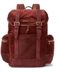 Brunello Cucinelli Leather-trimmed Suede Backpack - Multicolour