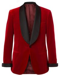 Kingsman - Red Slim-fit Twill-trimmed Cotton-velvet Tuxedo Jacket - Lyst