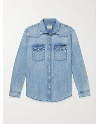 Nudie Jeans George Glowing Slim-fit Organic Denim Western Shirt - Blue
