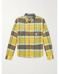 BBCICECREAM Logo-appliquéd Checked Brushed-flannel Shirt - Yellow