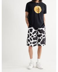 Kapital Wide-leg Cow-print Poplin Shorts - White
