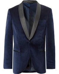 Mp Massimo Piombo - Navy Slim-fit Grosgrain-trimmed Cotton-velvet Tuxedo Jacket - Lyst