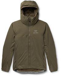 Arc'teryx Atom Lt Stretch Jersey-trimmed Nylon Coreloft Hooded Jacket - Green