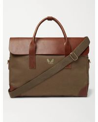 Bennett Winch Cotton-canvas And Full-grain Leather Briefcase - Green