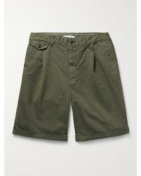 Alex Mill Pleated Stretch Bci Cotton-twill Chino Shorts - Green