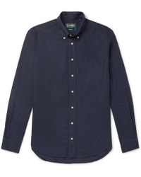 Gitman Brothers Vintage Button-down Collar Cotton-flannel Shirt - Blue