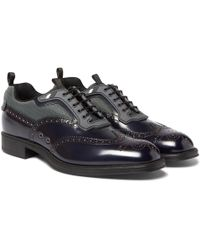 Prada - Spazzolato Leather And Mesh Wingtip Brogues - Lyst