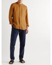 Boglioli Grandad-collar Linen Shirt - Orange