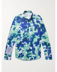 McQ Appliquéd Tie-dyed Cotton-poplin Shirt - Blue