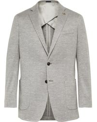 Peter Millar Grey Prince Of Wales Checked Wool, Silk And Linen-blend Blazer - Gray