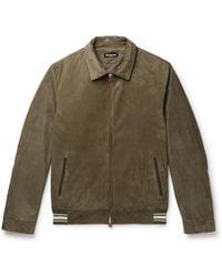 Kiton Slim-fit Suede Bomber Jacket - Green