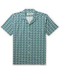 Aloye Camp-collar Printed Cotton-poplin Shirt - Blue