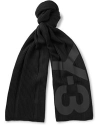 Y-3 | Printed Ribbed Cotton-blend Scarf | Lyst