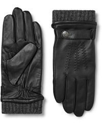 Dents Henley Leather And Wool-blend Tech Gloves - Black