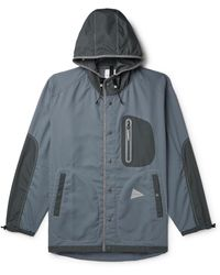 and wander Vent Cordura And Nylon-ripstop Hooded Jacket - Blue