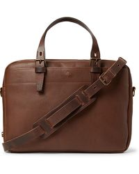 Bleu De Chauffe Folder Vegetable-tanned Textured-leather Messenger Bag - Brown