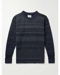 S.N.S. Herning Striped Textured Virgin Wool Jumper - Blue