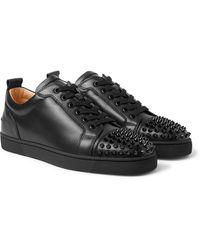 Christian Louboutin Louis Junior Spikes Cap-toe Suede Sneakers - Black