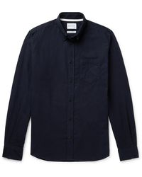 Norse Projects Anton Button-down Collar Brushed Cotton-flannel Shirt - Blue